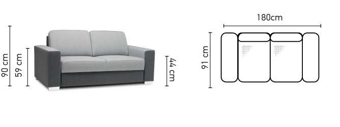 2 személyes Chantal kanapé méretei