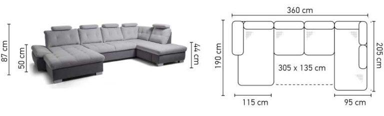 Cremona U alakú kanapé méretei