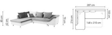 Delta kanapé méretei