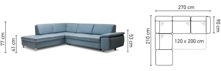 Niagara kanapé méretei