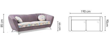 Vittorio 3 személyes kanapé méretei