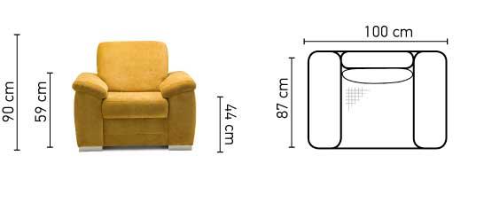 Barello fotel méretek