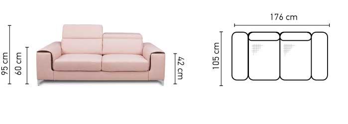 Genova két személyes kanapé méretek