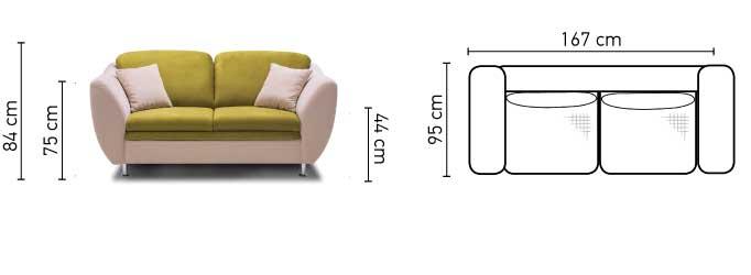 Lugano 2 személyes kanapé méretei