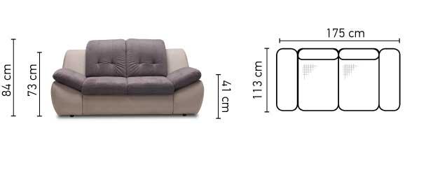 Mello 2 személyes kanapé méretek