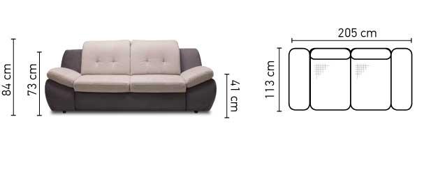 Mello 3 személyes kanapé méretek