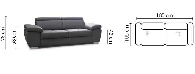 Rosso 2 személyes kanapé méretei
