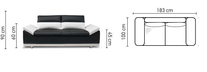 Manilla 2 személyes kanapé méretei